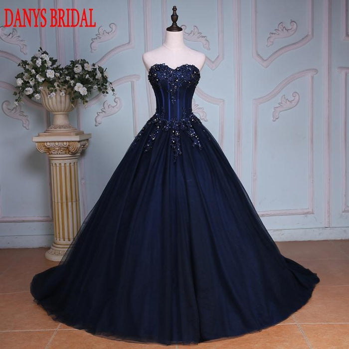 Navy Blue Ball Gown Princess Quinceanera Dresses Girls Beaded ...