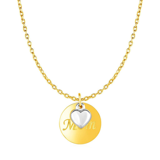 "Necklace With Mom Pendant And Heart In 10K Two Tone Gold-Jewelry-EpicWorldStore.com-18""-EpicWorldStore.com"
