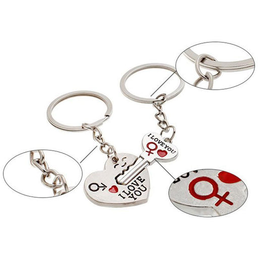 New 1 Pair Couple I Love You Letter Keychain Heart Key Ring Silvery Lovers Love Key Chain-Jewelry Sets & More-ALxpress Store-EpicWorldStore.com