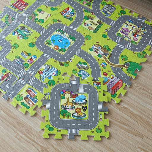 New! 9Pcs Baby Eva Foam Puzzle Play Floor Mat,City Road Education And Interlocking Tiles And Traffic-Baby & Toddler Toys-Meitoku Franchised Store-EpicWorldStore.com