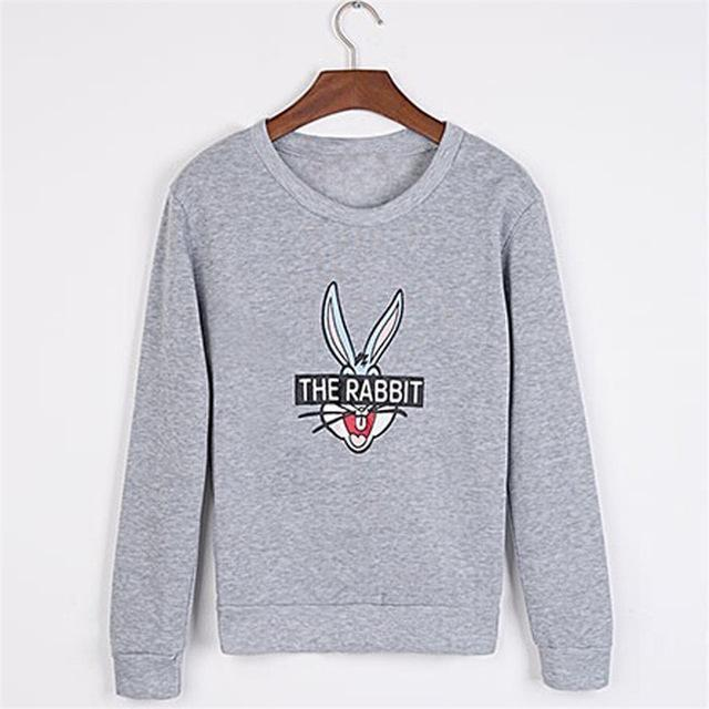 New Autumn Winter Women Cute Cartoon Bugs Bunny Printed Sweatshirts Loose Casual Female-Hoodies & Sweatshirts-Lucky Star Shop ^_^-Gray-M-EpicWorldStore.com