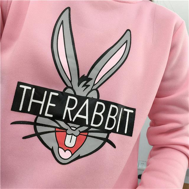 New Autumn Winter Women Cute Cartoon Bugs Bunny Printed Sweatshirts Loose Casual Female-Hoodies & Sweatshirts-Lucky Star Shop ^_^-Pink-M-EpicWorldStore.com
