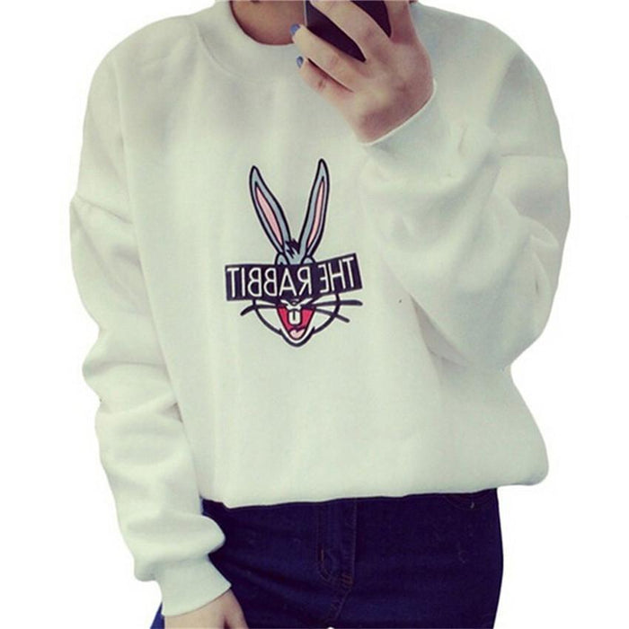 New Autumn Winter Women Cute Cartoon Bugs Bunny Printed Sweatshirts Loose Casual Female-Hoodies & Sweatshirts-Lucky Star Shop ^_^-White-M-EpicWorldStore.com