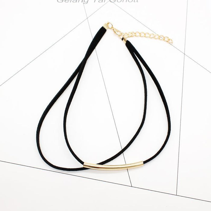 New Bending Tube Velvet Choker Necklace Double Layer Style Torque Black Short Leather-Necklaces & Pendants-HMIXN Official Store-NO1 gold black-EpicWorldStore.com