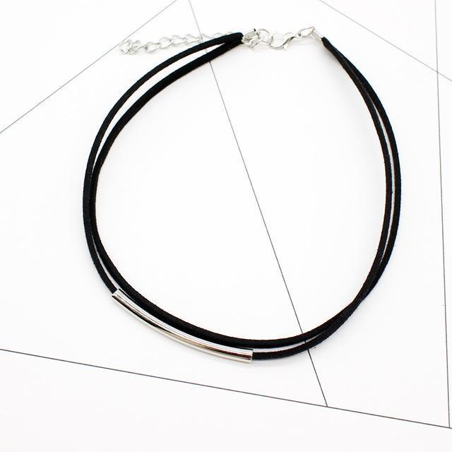 New Bending Tube Velvet Choker Necklace Double Layer Style Torque Black Short Leather-Necklaces & Pendants-HMIXN Official Store-NO2 silver black-EpicWorldStore.com