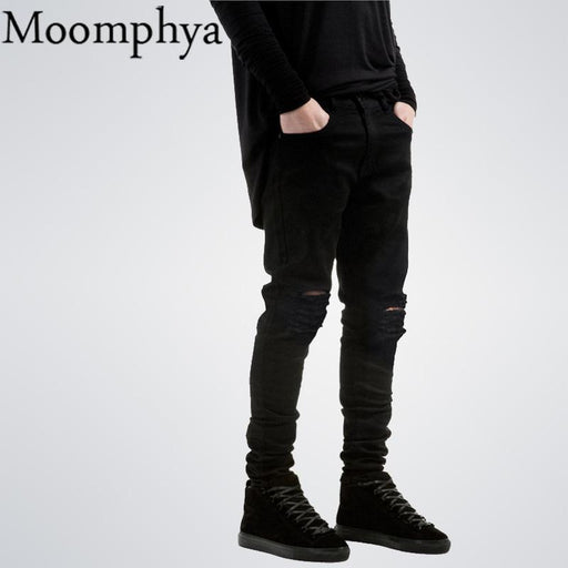 New Black Ripped Jeans Men With Holes Denim Super Skinny Famous Designer Brand Slim Fit Jean-Jeans-Moomphya Official Store-28-EpicWorldStore.com