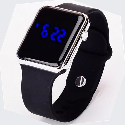 New Blue Light Square Mirror Face Silicone Band Digital Watches Led Watches Metal Frame Wristwatch-Lover's Watches-TEND Official Store-Rose gold-EpicWorldStore.com