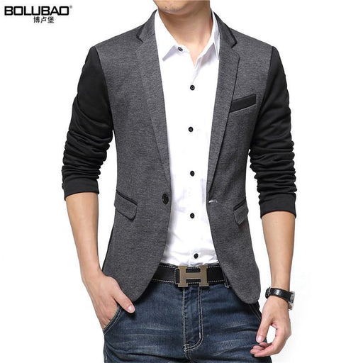 New Casual Men Blazer Cotton Slim Korea Style Suit Blazer Masculino Male Suits Jacket-Suits & Blazers-Bolubao Official Store-Drak Gray-M-EpicWorldStore.com