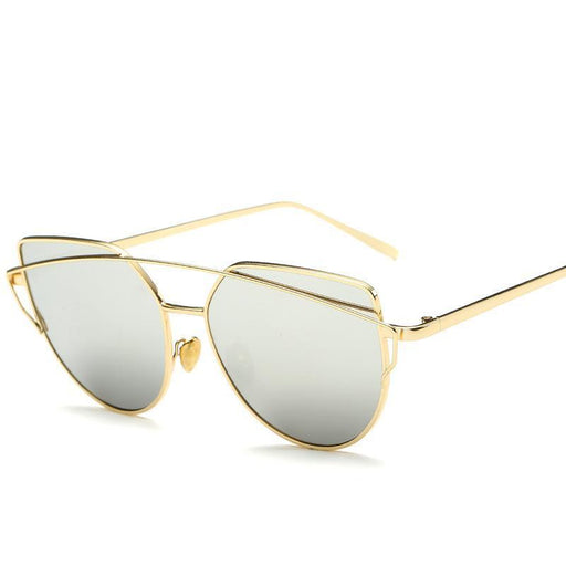 New Cat Eye Sunglasses Women, Brand Designer Twin Beam Sunglasses, Double-Deck Alloy-Sunglasses-AiC Official Store-goldsliver-EpicWorldStore.com