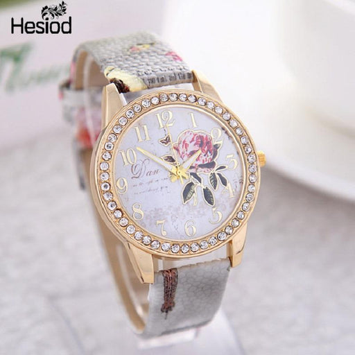 New Chinese Style Peony Pattern Watch Gilt Digital Quartz Casual Leather Clock Women-Women's Watches-Bai Shou Jewellery Store-lightbrown-EpicWorldStore.com