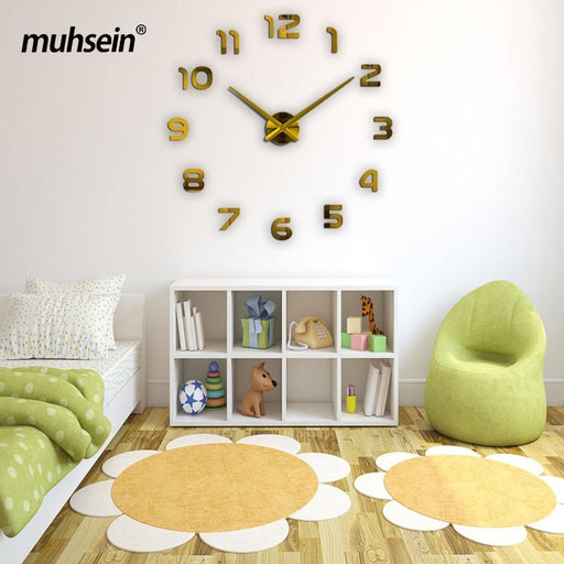 New Clock Watch Wall Clocks 3D Diy Acrylic Mirror Stickers Home Decoration Living Room Quartz Needle-Wall Clocks-muhsein official store-black-37inch-EpicWorldStore.com