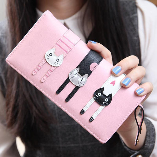 New Envelope Women Wallet Cat Cartoon Wallet Long Creative Female Card Holder Pu Wallet-Wallets-Petrichor Store-pink-EpicWorldStore.com