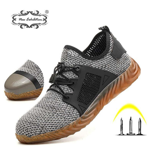 New Exhibition Breathable Safety Shoes Fashion Men Light Sneaker Indestructible Steel Toe Soft-Work & Safety Boots-New exhibition Official Store-gray-5.5-EpicWorldStore.com