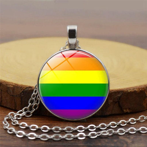 New Fashion Glass Colorful Rainbow Flower Buttons Flag Crystal Pendant Necklace For Bisexual-Xupu Store-Black-EpicWorldStore.com