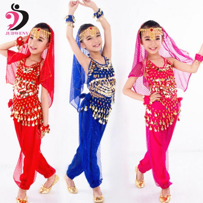 b056c3e65568 New Handmade Children Belly Dance Costume Set Kids Belly Dancing Girls  Bollywood Indian-Stage &