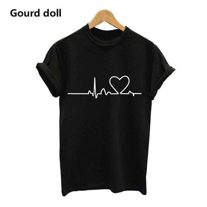 New Harajuku Heartbeat Love Printed Women T-Shirts Casual Summer Short Sleeve Short Sleeve T-Tops & Tees-KADWAN Store-Black-S-EpicWorldStore.com