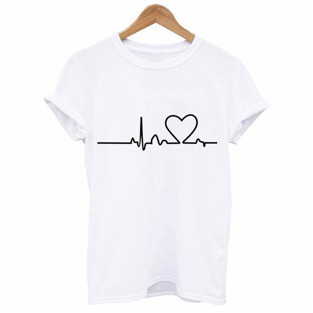 New Harajuku Heartbeat Love Printed Women T-Shirts Casual Summer Short Sleeve Short Sleeve T-Tops & Tees-KADWAN Store-White-S-EpicWorldStore.com