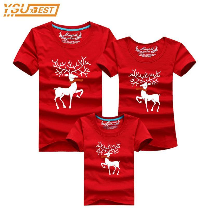New Holiday Christmas Family Matching Clothes Cute Cartoon Print Holiday  Family Reunion Clothes