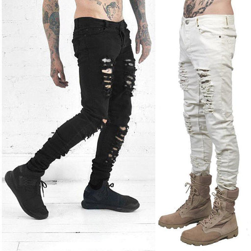 New Men Black White Skinny Slim Fit Jeans Distressed Ripped Destroyed Holes Denim Pants-Jeans-Keep Beautiful & Carry On Store-Black-28-EpicWorldStore.com