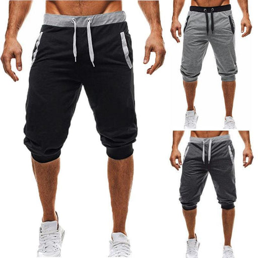 New Mens Baggy Jogger Casual Slim Harem Short Slacks Casual Soft Cotton Trousers Shorts-Shorts-F G's store-Black-M-EpicWorldStore.com