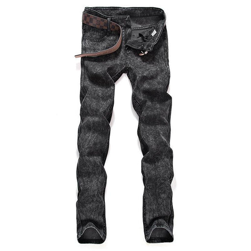 New Mens Boutique Pure Color Slim Leisure Jeans / Grey Black Blue Mens Casual Midweight-Jeans-Left ROM. Store-Black-28-EpicWorldStore.com