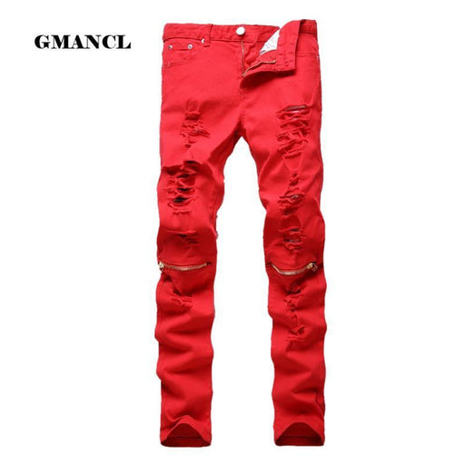 New Mens Ripped Biker Jeans 100% Cotton Red Black White Slim Fit Motorcycle Jeans Mens-Jeans-GMANCL Official Store-B0303 RED-28-EpicWorldStore.com