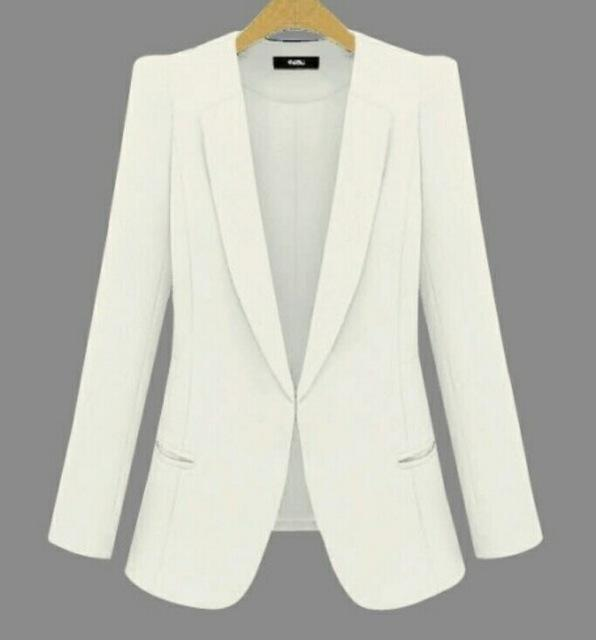 New Plus Size Womens Business Suits Spring Autumn All-Match Women Blazers Jackets Short Slim-Suits & Sets-OAIRED Official Store-White-XS-EpicWorldStore.com