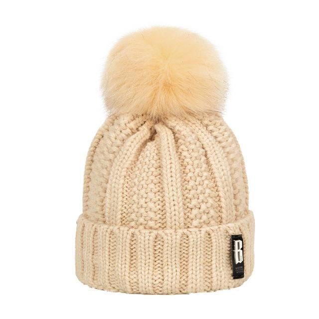 New Pom Poms Winter Hat For Women Solid Warm Hats Knitted Beanies Cap Brand Thick-Accessories-Evrfelan Official Store-Beige-EpicWorldStore.com