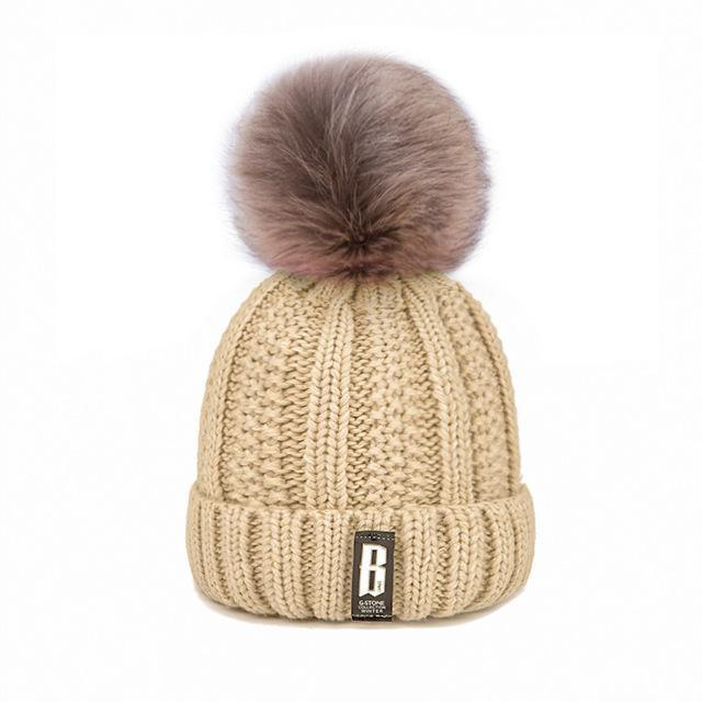New Pom Poms Winter Hat For Women Solid Warm Hats Knitted Beanies Cap Brand Thick-Accessories-Evrfelan Official Store-Beige b-EpicWorldStore.com