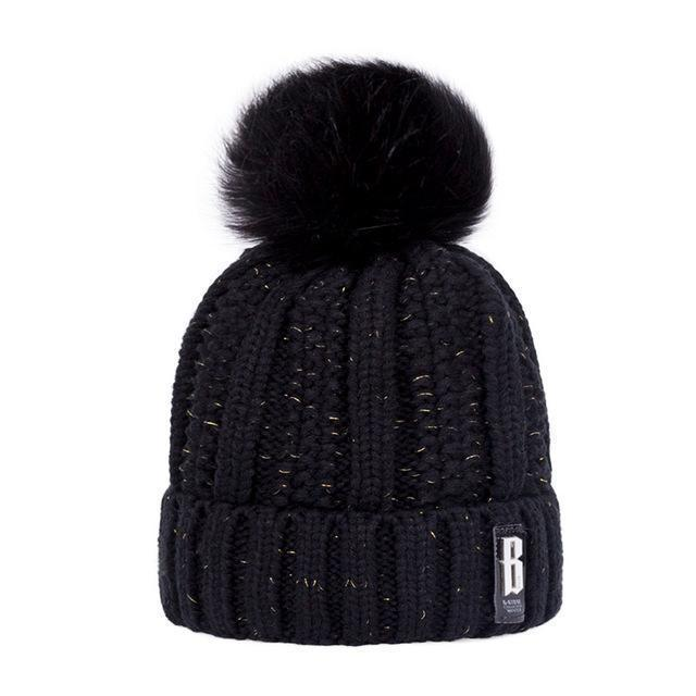 New Pom Poms Winter Hat For Women Solid Warm Hats Knitted Beanies Cap Brand Thick-Accessories-Evrfelan Official Store-Black-EpicWorldStore.com