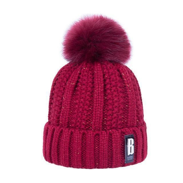 New Pom Poms Winter Hat For Women Solid Warm Hats Knitted Beanies Cap Brand Thick-Accessories-Evrfelan Official Store-Dark Red-EpicWorldStore.com