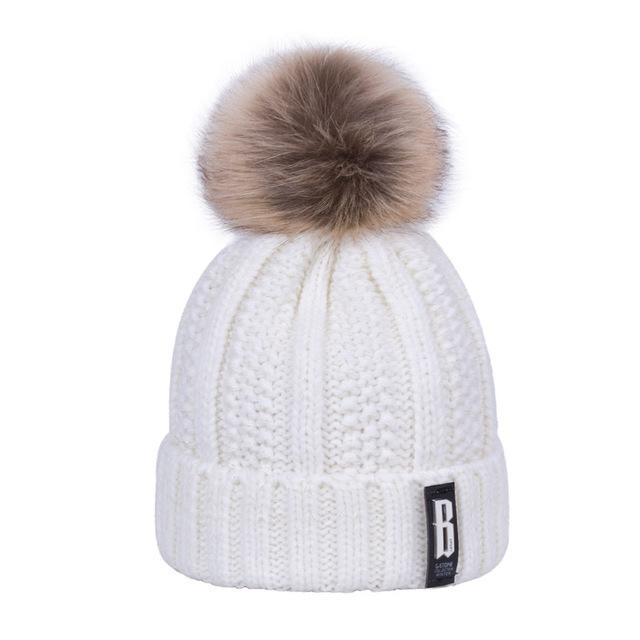 New Pom Poms Winter Hat For Women Solid Warm Hats Knitted Beanies Cap Brand Thick-Accessories-Evrfelan Official Store-White-EpicWorldStore.com