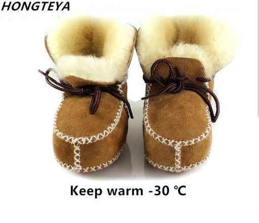 New Sheepskin Genuine Leather Wool Fur Baby Boy Winter Boots Infant Girls Warm Moccasins Shoes-Baby Shoes-Romirusbrandbabyshoes Store-Camel-2-EpicWorldStore.com