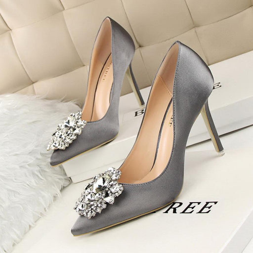 New Spring Autumn Women Pumps Elegant Rhinestone Silk Satin High Heels Shoes Stylish Thin-Women's Pumps-POADISFOO N1 Store-Black-34-EpicWorldStore.com