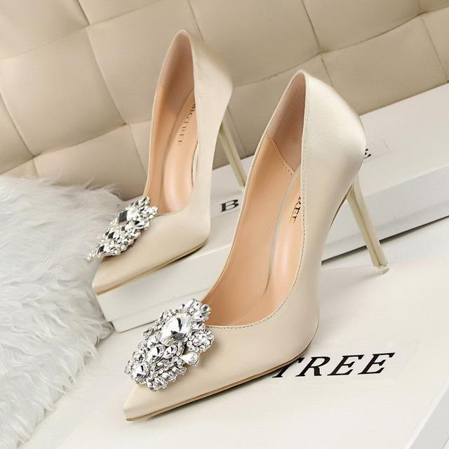 b3cdf55fc58 New Spring Autumn Women Pumps Elegant Rhinestone Silk Satin High Heels  Shoes Stylish Thin-Women s