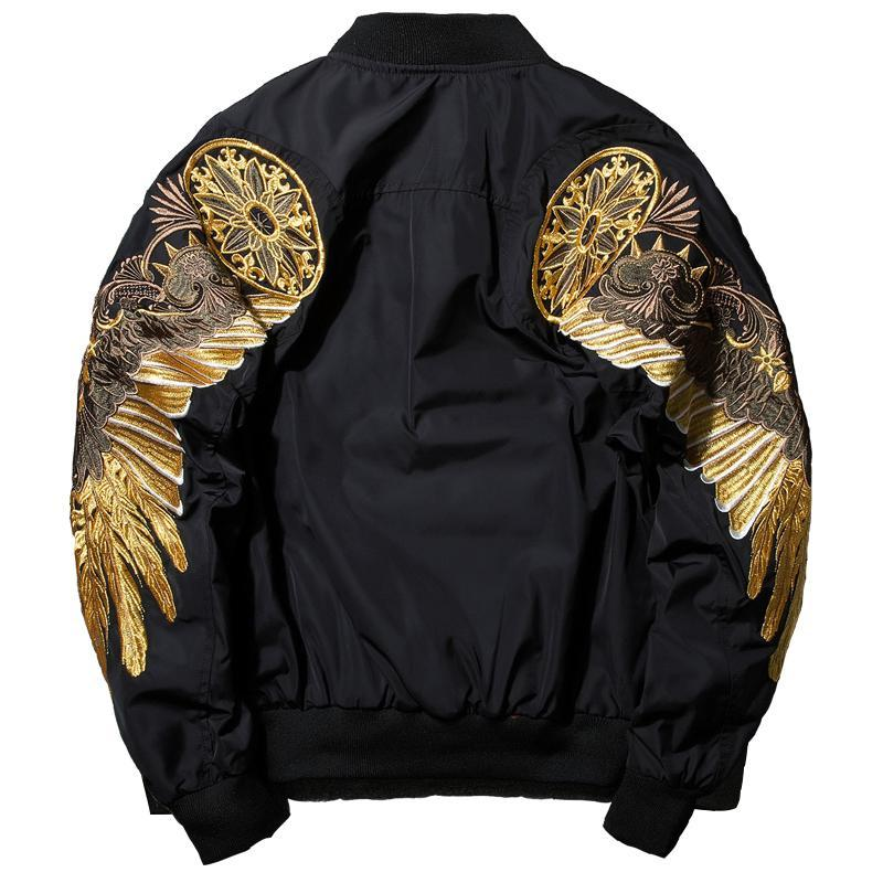 New Spring Black Embroidery Bomber Jacket Men Streetwear Brand-Clothing