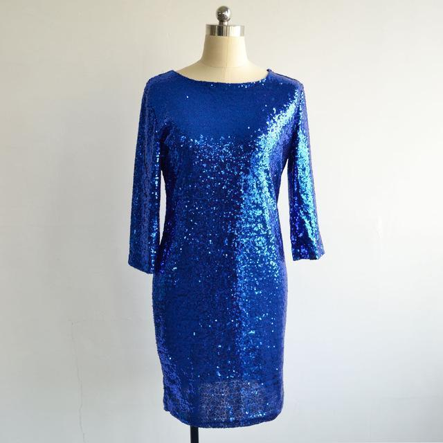 New Style Summer Dress Women O Neck Long Sleeve Paillette Sequins Backless Bodycon Slim-Dresses-VITIANA Official Store-Blue-S-EpicWorldStore.com