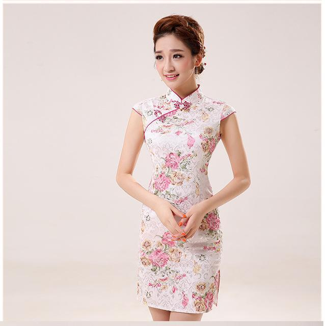 80736f58e New Summer Silk Satin Cheongsam Chinese Traditional Dress Vestido  Sleeveless Female High Neck-Traditional &