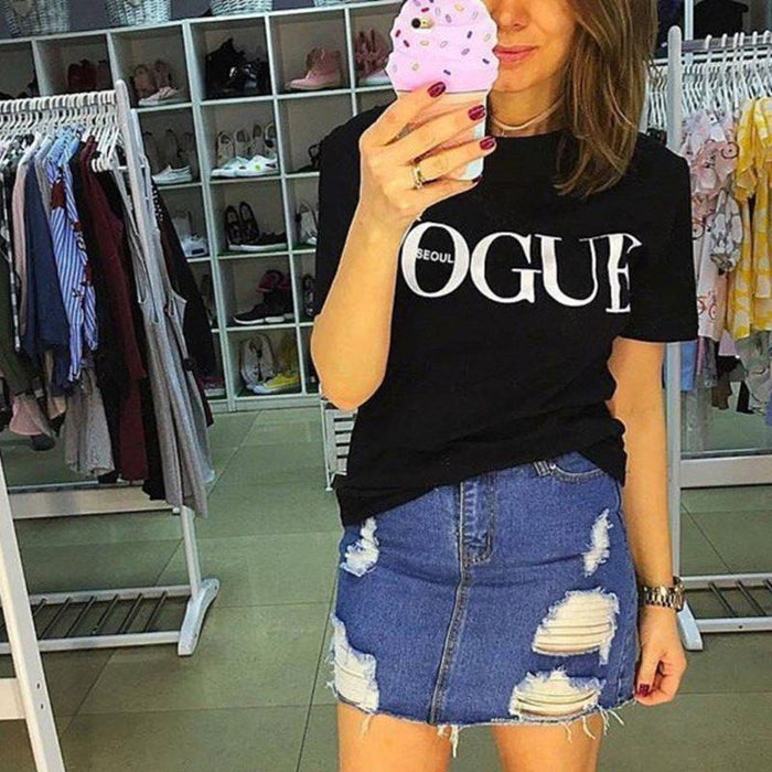 New Summer T-Shirt Women Vogue High Cotton Red Letter Print Casual Knitwear Short-Tops & Tees-Gift for Age of Women-Black-S-EpicWorldStore.com