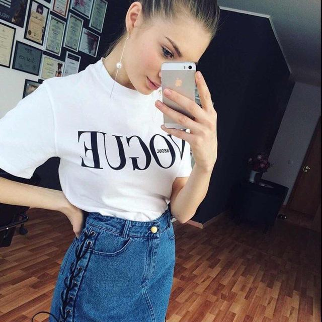 New Summer T-Shirt Women Vogue High Cotton Red Letter Print Casual Knitwear Short-Tops & Tees-Gift for Age of Women-White-S-EpicWorldStore.com