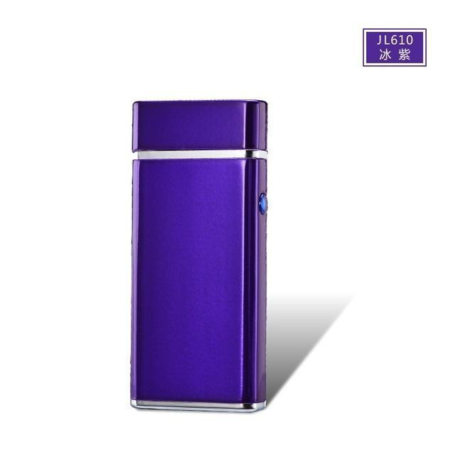 New Usb Electric Double Arc Lighter Rechargeable Windproof Torch Lighter Cigarette Dual Thunder-Household Merchandises-Tonron Personalized Store-Ice Purple-EpicWorldStore.com