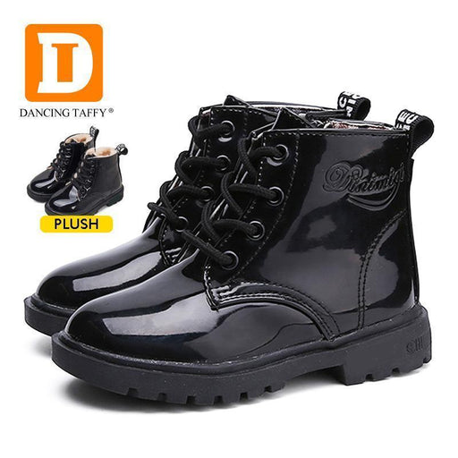 New Winter Children Shoes Pu Leather Waterproof Martin Boots Kids Snow Boots Brand Girls Boys-Children's Shoes-Yuanyuan Fashion-Black-1-EpicWorldStore.com