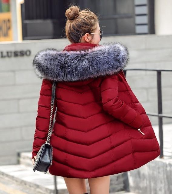 New Winter Jacket Women Coats Artificial Raccoon Hair Collar Female Parka Black Thick Cotton-Jackets & Coats-GZGOG Official Store-Burgundy-S-EpicWorldStore.com