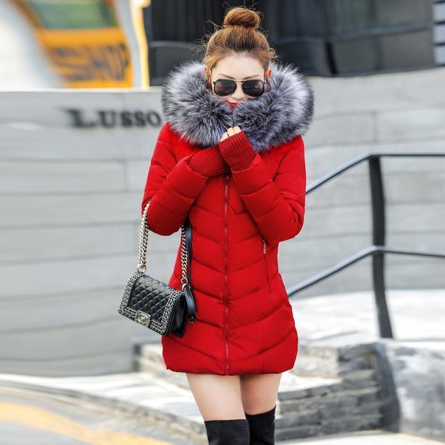 New Winter Jacket Women Coats Artificial Raccoon Hair Collar Female Parka Black Thick Cotton-Jackets & Coats-GZGOG Official Store-Red-S-EpicWorldStore.com