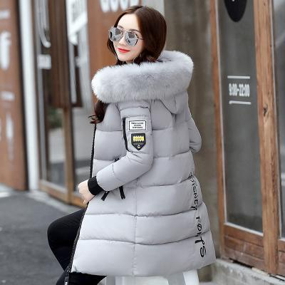 82affacff07 New Winter Jacket Women Cotton Coat Fur Collar Hood Parka Female Long  Jackets Thick Warm-
