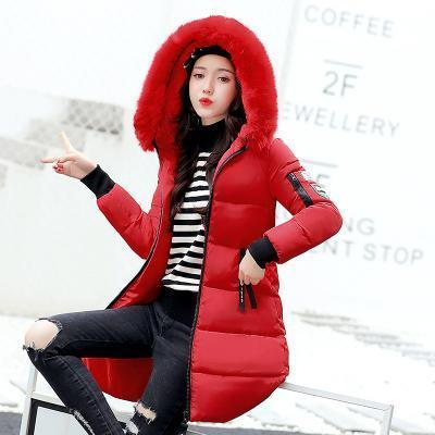 New Winter Jacket Women Cotton Coat Fur Collar Hood Parka Female Long Jackets Thick Warm-Jackets & Coats-chu mark Official Store-Red-M-EpicWorldStore.com