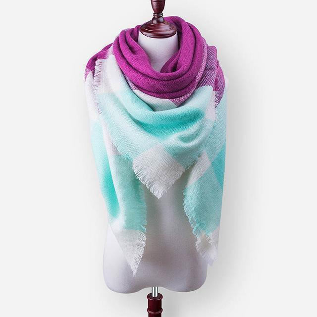New Winter Plaid Scarf Women Warm Scarf Shawls Ladies Basic Scarves Pashmina Luxury Brand-Accessories-WOWEXPRESS Store-B18-EpicWorldStore.com