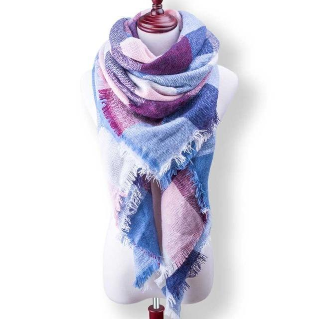 New Winter Plaid Scarf Women Warm Scarf Shawls Ladies Basic Scarves Pashmina Luxury Brand-Accessories-WOWEXPRESS Store-B27-EpicWorldStore.com
