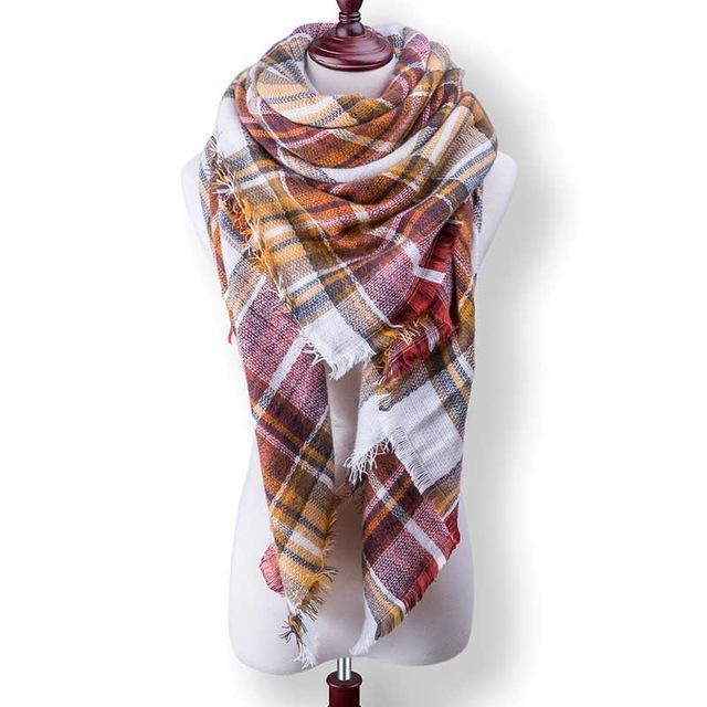 New Winter Plaid Scarf Women Warm Scarf Shawls Ladies Basic Scarves Pashmina Luxury Brand-Accessories-WOWEXPRESS Store-B32-EpicWorldStore.com