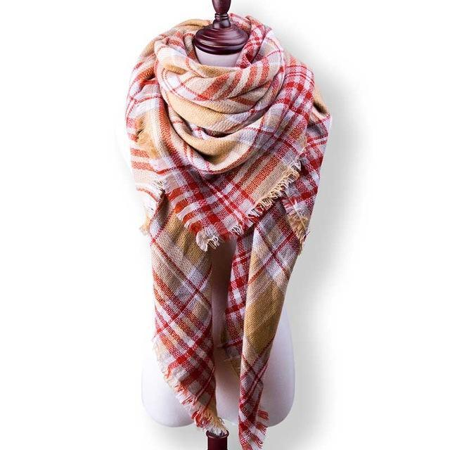 New Winter Plaid Scarf Women Warm Scarf Shawls Ladies Basic Scarves Pashmina Luxury Brand-Accessories-WOWEXPRESS Store-B34-EpicWorldStore.com